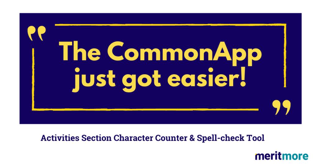 Common App Activities Worksheet | Track Character Counts